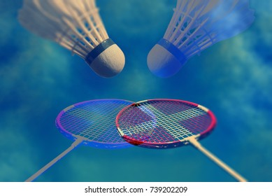 Badminton fantasy and memory from my youth. Artistic badminton racket and shuttlecock closeup.