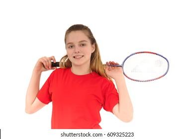 Badminton player playing badminton