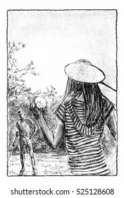 Badminton players on the lawn. Man and woman playing badminton. Charcoal drawing.