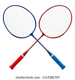 Badminton racket isolated on white background with clipping path