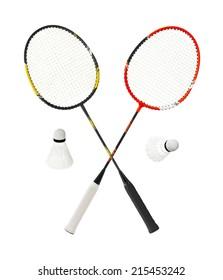 Badminton racket isolated on white background