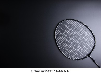 Badminton racket on black background.Sport concept, Copy space image for your text