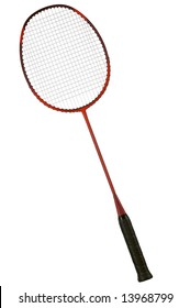 Badminton racket on a white background. Studio isolated.