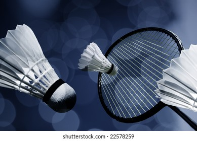 Badminton racket and shuttlecocks close-up in a personal artistic collage