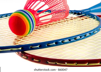 Badminton raquets red and blue with modified Shuttlecock