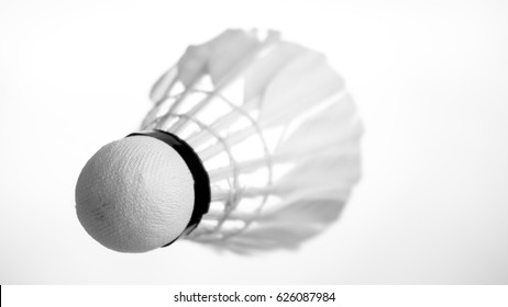 Badminton shuttercock isolated on white background. Black and White.