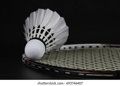 Badminton shuttlecock on Selective focus over black background