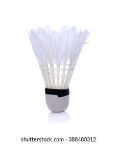 Badminton shuttlecock on a white background.