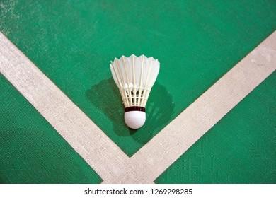 badminton shuttlecocks on green background