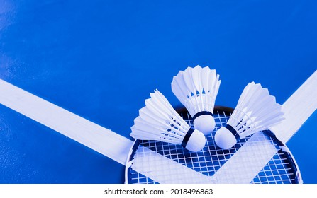 Badminton shuttlecocks and racket on floor of the court, soft and selective focus on shuttlecocks.