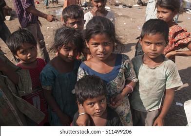 BADNERA, MAHARASHTRA, INDIA, 1 MAY 2013 : Unidentified Madari  community's children at slum area, Madari is Muslim community They are street performers with monkeys found in a North India.