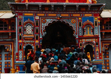 Badrinath, India - circa 2019: People standing in crowd in order to enter the Badrinath temple