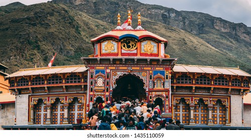 Badrinath, India - circa 2019: View of the Badrinath temple with huge crowd at it's door