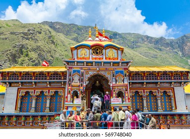 BADRINATH, UTTARAKHAND, INDIA - CIRCA MAY 2013: Hindu pilgrims ascend the steps to the temple of Badri-Narayana in the Himalayan State of Uttarakhand, India.