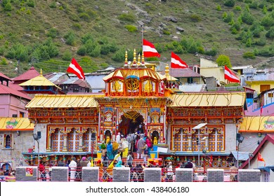 BADRINATH, UTTARAKHAND, INDIA, JUNE 01, 2016: One of the most sacred and famous Vishnu temples, re-established by Adi Shankara in the ninth century. One of the Char Dhams.