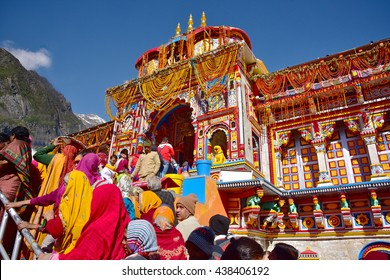 BADRINATH, UTTARAKHAND, INDIA, JUNE 01, 2016: One of the most important Vishnu temples, reestablished by Adi Shankara in the ninth century. One of the Char Dhams. Pilgrims line up for darshan.