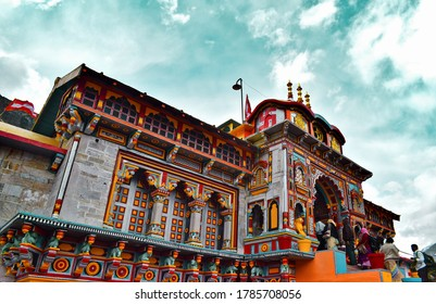 Badrinath, Uttarakhand, India - June 16, 2018. Beautiful Temple with dramatic sky.