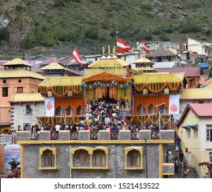 BADRINATH, UTTARAKHAND, INDIA, JUNE 2019:  Badrinarayan temple dedicated to Lord Vishnu, one of the four Char Dham and Chota Char Dham pilgrimage sites.