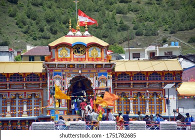 Badrinath, Uttrakhand, India - June 17, 2017 : One of the four Dhams of India, Badrinath Temple,  one of the most sacred and famous centres of pilgrimage in India.