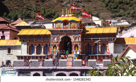 Badrinath, Uttrakhand / India - October 23 2015 The front gate view of the majestic Badrinath Temple situated at the foothills of the himalayan mountain range.