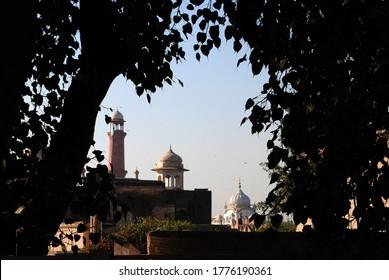 Badshahi Masjid, lahore fort and Gurudwara dome in one sight