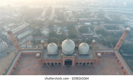 Badshahi Mosque, Lahore Pakistan - Aerial view of beautiful Grand mosque of old Mughal dynasty and surroundings, old streets of inner city of Lahore, Pakistan