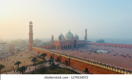 Badshahi Mosque, Lahore Pakistan - Grand mosque of old Mughal dynasty and surroundings, old streets of inner city of Lahore, Pakistan