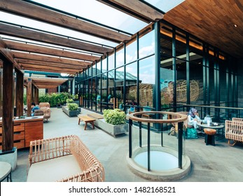 Badung, Bali / Indonesia - 3 August 2019: Starbuck in Dewata - Bali, one of the largest in Southeast Asia. This branch covers an area of approximately 2,000 square meters. Architecture and interior