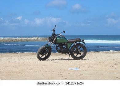 Badung, Indonesia - June 22, 2018: Honda Monkey Z50 at Melasti Ungasan Beach