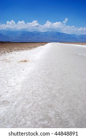 Badwater is a basin in California's Death Valley, noted as the lowest point in North America, with an elevation of 282 feet (85.5 m) below sea level.
