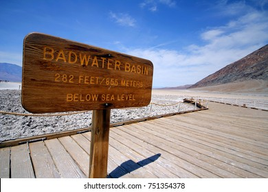 Badwater Basin in Death Valley National park, California. The lowest point in North America.