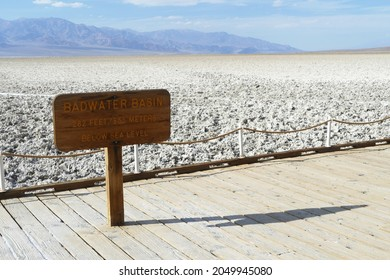 Badwater Basin, the lowest point in North America and the United States, with a depth of 282 ft86m below sea level, Death Valley National Park, California, United States