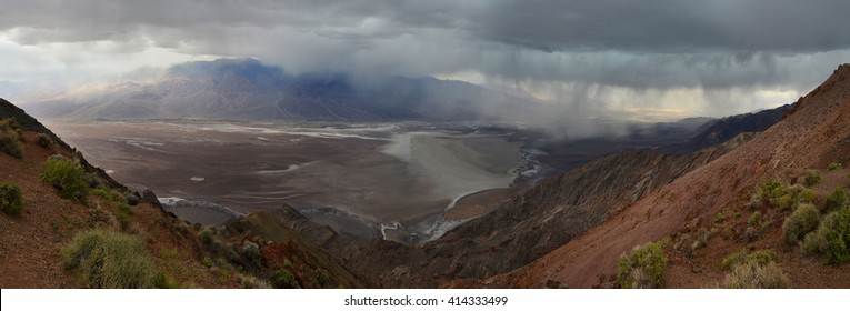 Badwater basin seen from Dante's view, Death Valley, California, USA. Panoramic view
