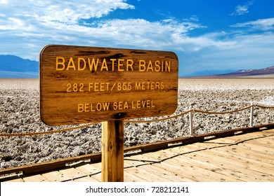 Badwater Basin sign with information about elevation at Death Valley National Park