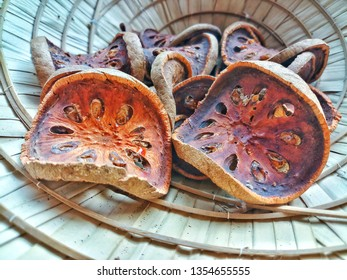 Bael or Bael fruit ,Dried quince on Basket made from coconut leaves