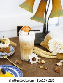 Bael latte. Bael is species of a plant native to South East Asia. Bael is known by many names i.e. Aegle marmelos and Bengal quince. Iced coffee with Aegle marmelos, special drink. Soft focus & rustic