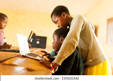 Bafoussam, Cameroon - 06 august 2018: beautiful image of african school children learning to use computer in classroom of african school