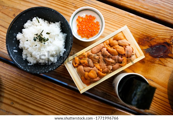 Bafun Uni and Ikura in Japanese Restaurant