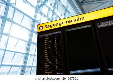 Bag, baggage claim sign at the airport