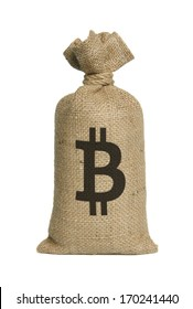 Bag from bitcoin isolated on a white background.