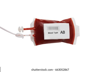 bag of blood and plasma isolated on white background, AB