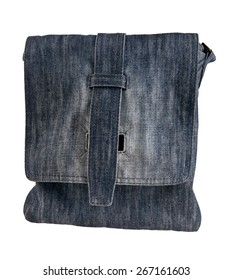 bag with blue denim isolated on white background