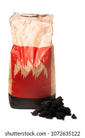 Bag of charcoal isolated on a white background.