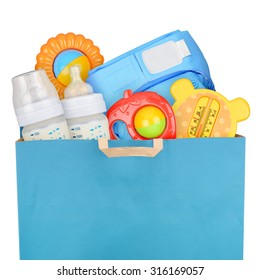 Bag with children goods isolated on white background