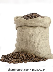 bag of coffee beans isolated on white background