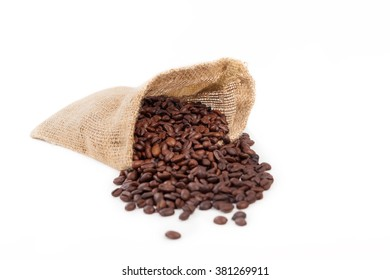 bag of coffee beans on a white background