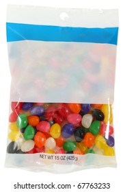 Bag of colorful jelly beans 15 ounces with blank label for text over white.