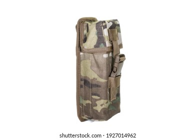 A bag containing magazines on a white background. bag for magazine firearms Pouch version with tubular magazine. Pistol wallet.