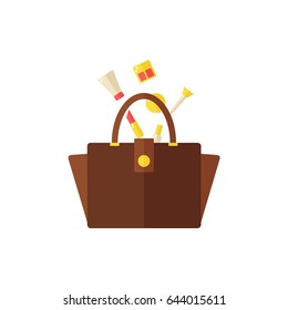 Bag with cosmetics isolated icon on white background. Women bag. Inside the bag. Lipstick, nail polish, hand cream, eyeshadow, makeup brush, mirror. Flat illustration design.