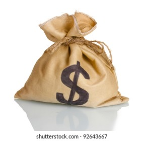 A bag with a dollar sign isolated on white